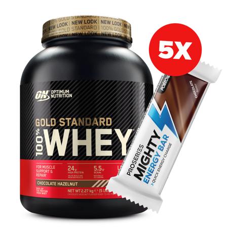 100% Whey Gold Standard, 2270 g + 5x Mighty Energy Bar, 35 g GRATIS