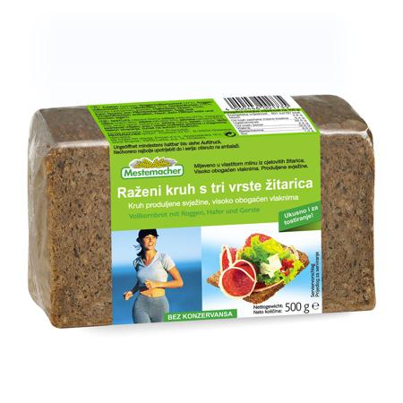 Raženi kruh s tri vrste žitarica, 500 g