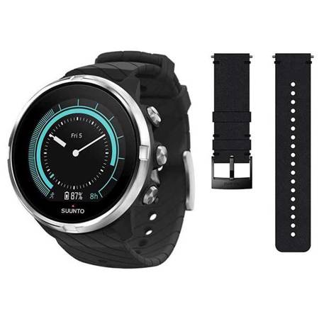 Suunto 9, Black + Black Leather Strap