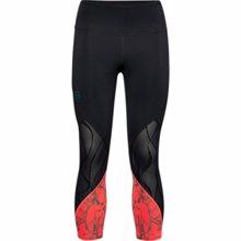 UA Women's Rush Vent Iridescent Graphic Crop Leggings, Black/Beta
