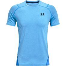 UA HeatGear Fitted Short Sleeve Shirt, Brilliant Blue Light Heather/Black