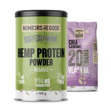 Hemp Protein Powder, Organic, 500 g + Chia semena, 750 g