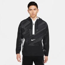 Nike Dri-Fit Sport Clash Woven 1/2 Zip Hoodie, Black/White
