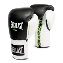 Powerlock Fight Gloves Lace Up, Black/White