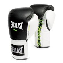 Powerlock Fight Gloves Lace Up, Black/White