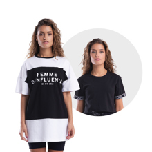 Femme D'influence Dress Tee, Black + My Stripes Crop Top, Black GRATIS