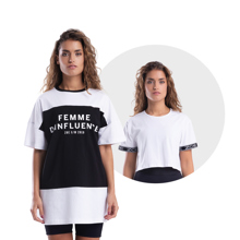 Femme D'influence Dress Tee, Black + My Stripes Crop Top, White GRATIS