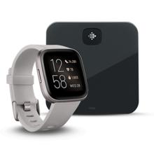 Fitbit Versa 2, Stone/Mist Grey Aluminum + Aria Air, Black