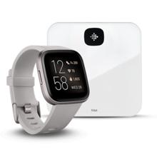 Fitbit Versa 2, Stone/Mist Grey Aluminum + Aria Air, White