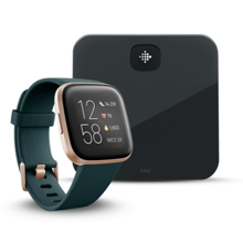 Fitbit Versa 2, Emerald/Copper Rose Aluminum + Aria Air, Black