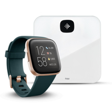 Fitbit Versa 2, Emerald/Copper Rose Aluminum + Aria Air, White
