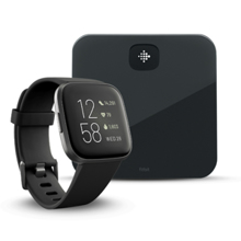 Fitbit Versa 2, Black/Carbon Aluminum + Aria Air, Black
