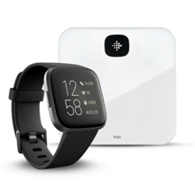 Fitbit Versa 2, Black/Carbon Aluminum + Aria Air, White