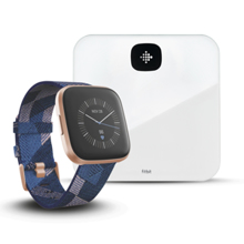 Fitbit Versa 2 SE, Navy/Pink Woven/Copper Rose Aluminum + Aria Air, White
