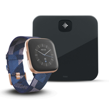 Fitbit Versa 2 SE, Navy/Pink Woven/Copper Rose Aluminum + Aria Air, Black