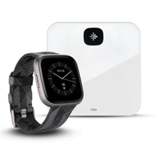 Fitbit Versa 2, SE, Smoke Woven Band/Mist Grey Aluminum + Aria Air, White