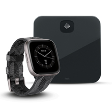Fitbit Versa 2, SE, Smoke Woven Band/Mist Grey Aluminum + Aria Air, Black