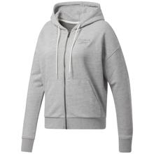 Reebok Texured Logo Full Zip Women's Hoodie, Medium Grey