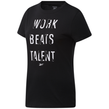 Reebok Work Beats Talent Graphic Short Sleeve Women's Shirt, Black
