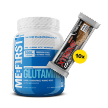 Glutamine, 500 g + 10x Xtreme 60% Protein Bar, 75 g GRATIS