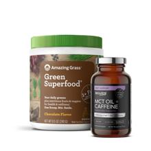 Green Superfood, Chocolate, 240 g + MCT Oil + Caffeine, 90 kapsula GRATIS