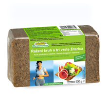 Rženi kruh s tremi vrstami žitaric, 500 g