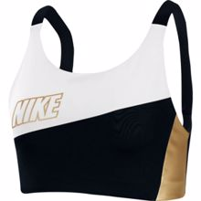 Nike Swoosh Medium-Support Metallic Women's Sports Bra,  White/Black/Metallic Gold