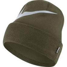 Nike Swoosh Cuffed Training Knit Hat, Olive Canvas/Pure Platinum
