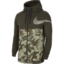 Nike Dri-Fit Full Zip Hoodie, Camo Sequoia/Galactic Jade/Black