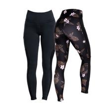 Tropical Vibe Leggings, Pink + Eclipse Leggings, Black AKCIJA