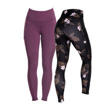 Tropical Vibe Leggings, Pink + Eclipse Leggings, Plum AKCIJA
