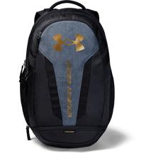 UA Hustle 5.0 Backpack, Black/Heather/Metallic Gold