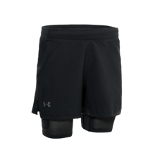 UA IsoChill Run 2in1 Shorts, Black/Reflective