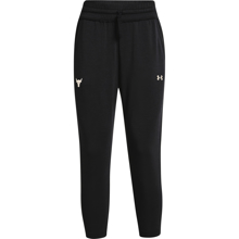 UA Women's Project Rock Terry Crop Pants, Black/Summit White