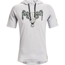 UA Project Rock Charged Cotton Short Sleeve Hoodie, Grey/Green