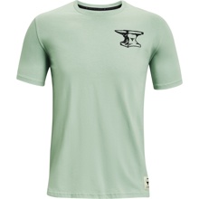 UA Project Rock Wrecking Crew Short Sleeve Shirt, Fisher Green/Black