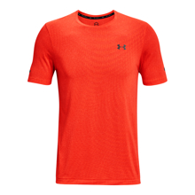 UA Rush HeatGear Seamless Illusion Short Sleeve T-Shirt, Phoenix Fire/Black