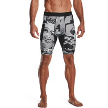 UA Isochill HG Compression Printed Long Shorts, Black/White