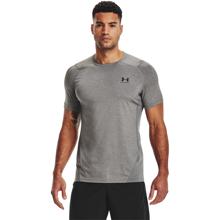 UA HeatGear Fitted Short Sleeve Shirt, Carbon Heather/Black