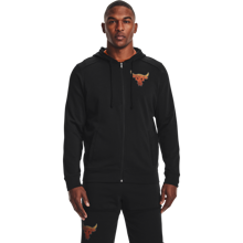 UA Project Rock Terry Full Zip Hoodie, Black/Rogue Orange