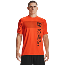 UA Tech 2.0 Vertical Wordmark SS Shirt, Blaze Orange/Black