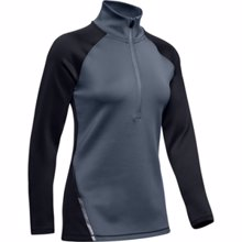 UA Women's ColdGear Armour 1/2 Zip Color Block LS Shirt, Black
