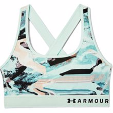 UA Women's Armour Mid Crossback Print Sports Bra, Seaglass Blue