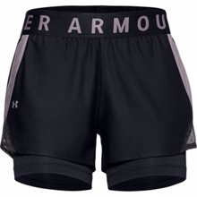 UA Women's Play Up 2-in-1 Shorts, Black/Slate Purple