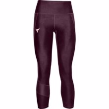 UA Women's Project Rock 7/8 Leggings, Purple/Rosewater
