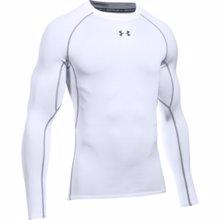 UA HeatGear Armour Long Sleeve Compression Shirt, White/Graphite