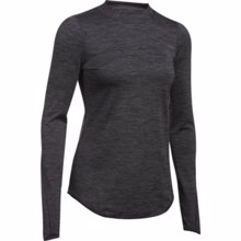 UA Women's ColdGear Armour Fitted Mock Neck, Carbon Heather/Metallic Silver