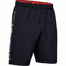 UA Woven Graphic Wordmark Shorts, Black/Beta Red