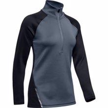 UA Women's ColdGear Armour 1/2 Zip Color Block LS Shirt, Black