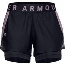 UA Women's Play Up 2-in-1 Shorts, Black/Slate Purple